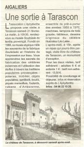 reportage du Républicain d'Uzès concernant une sortie patrimoine en février 2015